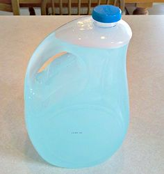 No-Grate Homemade Laundry Soap | One Good Thing by Jillee....3 T Borax, 3 T Washing Soda, and 2 T Dawn Dish Soap (any kind) boil 4 cups water and mix with ingredients in one gallon jug, let cool, and  then fill jug almost to the top with cold water. The bottle will overflow out of the bottle. Use 1/2 cup to 1 cup per load.