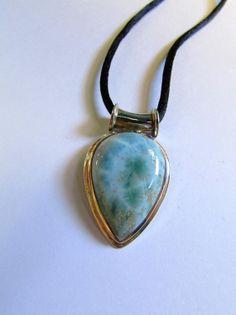 Larimar Pendant - Sterling Silver LARIMAR Necklace - Soul Mate Stone. Dolphin Stone. Gemstone of the Caribbean. Large Larimar Stone Pendant