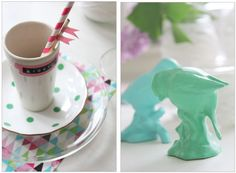 Lidyll  - summer table and easy DiY; spray paint the ceramic figures in lovely pastels! Nice table decoration