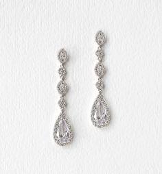 Daisy White Gold Long Drop Earrings