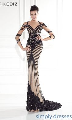 Dress, Long Illusion Sweetheart Long Sleeve Dress by Tarik Ediz - Simply Dresses