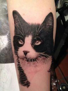 photorealistic black cat tattoo - Google Search