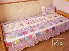 Love Colors by Julianna Rencés Kovács girl quilt with balerina bunnies, Northcott Little Girls collection, Fabricated butterflyes,