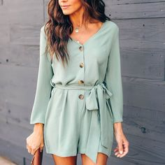 V-neck Chiffon Playsuit Bow Tie Long Sleeve Sashes Women Jumpsuit Romper Solid Overalls All White Jumpsuit, Casual Jumpsuit, Jumpsuit With Sleeves, Jumpsuit Shorts, Tailored Jumpsuit, Romper Pants, Rompers For Teens, Rompers Women, Jumpsuits For Women