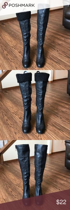 Black Convertible Boots Jessica Simpson black boots. Can wear with top rolled up or rolled down showing faux shearing. Jessica Simpson Shoes Heeled Boots