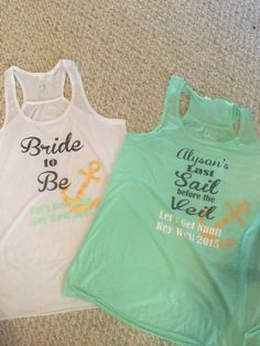 Last Sail before the Veil shirt is great for a bachelorette trip! We can change the colors, fonts or layout if you want.  This listing is for the