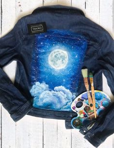 Excited to share this item from my shop: Paint denim jacket with artwork Jean jacket with acrylic painting Custom Denim Jacket Stylish clothing Hand painted Denim Jacket Painted Denim Jacket, Painted Jeans, Painted Clothes, Hand Painted, Denim Ideas, Denim Jackets, Diy Clothes, Farmer, Coloring