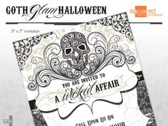 Goth Glam Halloween Party Invitation - DIY Printable - Do It Yourself - Dia de los Muertos - Skulls Invite - Made to Order - Printed Invite by SqPartyPrintables on Etsy https://www.etsy.com/listing/79212424/goth-glam-halloween-party-invitation-diy