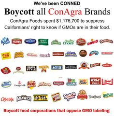 Food producing corporations such as ConAgra have been caught in multiple legal troubles including E-coli and salmonella outbreaks and the noted above cover up on GMOs. Health And Beauty, Health And Wellness, Health Care, Conagra Foods, Gmo Facts, Toxic Foods, Thing 1, Bad Food, Food Safety