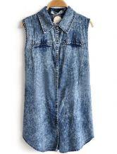 Blue Lapel Sleeveless Single Breasted Denim Shirt $35.07   I LOVE HOW LONG IT IS
