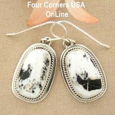 Four Corners USA Online Native American Artisan Jewelry - White Buffalo Turquoise Sterling Silver Earrings by Native American Navajo Lester Jackson NAER-1424, $122.00 (http://stores.fourcornersusaonline.com/white-buffalo-turquoise-sterling-silver-earrings-by-native-american-navajo-lester-jackson-naer-1424/)