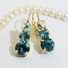 Teal Green Turquoise Blue earrings, Aqua Blue,Teal Wedding AB Drop Earrings with Genuine Swarovski crystals, Gold finish, BLUE ZIRCON, GE45