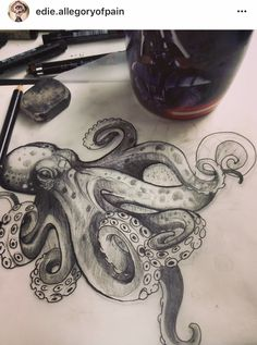 Octopus style I like. Giant tattoo for my hip? - Tattoos - : Octopus style I like. Giant tattoo for my hip? Tattoos Mandala, Ocean Tattoos, Life Tattoos, Body Art Tattoos, Tattoo Drawings, New Tattoos, Tribal Tattoos, Small Tattoos, Mermaid Tattoos
