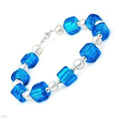 Sterling Silver Pearl and Glass Beads Ladies Bracelet. Length 7.5 in. Total Item weight 14.6 g. VividGemz. $25.00