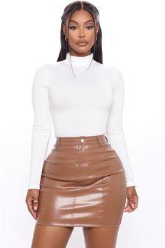Swag Outfits For Girls, Curvy Outfits, Dope Outfits, Teen Fashion Outfits, Boujee Outfits, Fashion Nova White Dress, Long Sleeve Bandage Dress, Turtleneck Bodysuit, Bodysuit Fashion