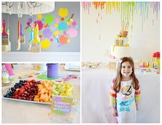 "My daughter's favorite activity is to get messy, so I thought what better theme for her 3rd birthday than an Art Party where she and all her friends could go all out and get really messy!  Party goers enjoyed painting small and large canvases, as well as wood and paper craft activities, and artist themed food and drinks.  Attendees were instructed to ""dress for mess!"""
