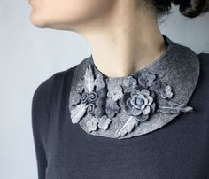Frida Kahlo inspired Monochrome Meadow -- Felted Neck Piece -- made from wool