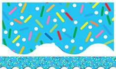 Colorful Sprinkles On Blue Bulletin Board Border, Scalloped