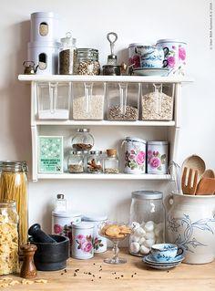 organize your pantry (via Ikea Livethehemma) (my ideal home. Wall Shelf With Drawer, Ikea Wall Shelves, Kitchen Shelves, Kitchen Pantry, Build Shelves, Wooden Shelves, Kitchen Storage, Kitchen Dinning, Kitchen Decor