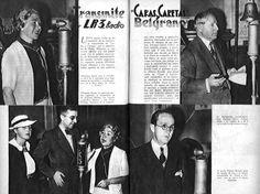 Alfonsina Storni, Enrique García Velloso y Alberto Roveda en el programa de la revista Caras y Caretas por RADIO BELGRANO, Buenos Aires, 1936.