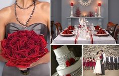 I've always wanted a red and orange wedding... but now grey and red seem to be a likely color pairing for me. I love how elegant it looks.
