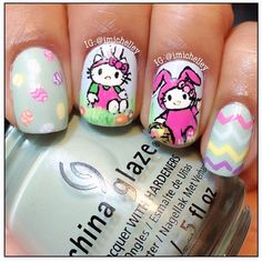 easter hello kitty nails