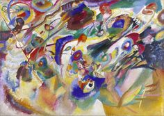 Wassily Kandinsky (Russian; Expressionism, Abstract Art; 1866-1944): Sketch 2 for Composition VII (Entwurf 2 zu Komposition VII), 1913. Oil on canvas, 39-5/16 x 55-1/16 inches (100 x 140 cm). Städtische Galerie im Lenbachhaus, Munich, Germany. © This artwork may be protected by copyright. It is posted on the site in accordance with fair use principles.