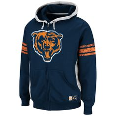 Chicago Bears Intimidating V Full Zip Hoodie by Majestic | Sports World Chicago $69.95