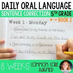 Daily Oral Language (DOL) Book 2: Aligned to the 5th Grade CCSS Daily Oral Language, Language Arts, 5th Grade Books, Third Grade, Sentence Fragments, Word Check, Figure Of Speech, Reading Intervention, Language Activities