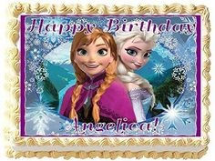 Frozen Personalized Edible Cake Topper Image 14 Sheet -- Find out more about the great product at the image link. (This is an affiliate link) Frozen Birthday Theme, Frozen Party, 5th Birthday, Birthday Ideas, Pastel Frozen, Elsa Frozen, Frozen Background, Birthday Places, Elsa Cakes