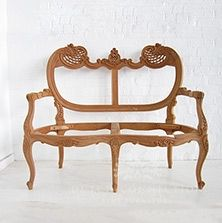 Items similar to Rococo Two Seater Sofa Bench on Etsy Raw Furniture, Unfinished Furniture, Furniture Styles, Antique Furniture, Sofa Drawing, Drawing Furniture, Sofa Bench, White Cherries, Three Seater Sofa