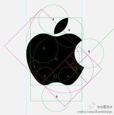 采用黄金分割比例的苹果logo设计