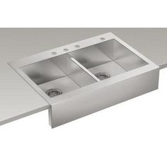 """Kohler K-3944-4 Vault 35 3/4"""" L x 24 5/16""""W Stainless Steel Apron Double Basin Front Kitchen Sink, with Drop-In, Self Trimming Installation for 36"""" Cabinets with Three Faucet Holes.  Perfect for instal over existing cabinets! $505"""
