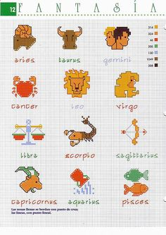Zodiac signs small cross stitch patterns