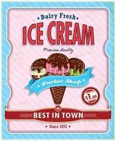 Vintage Ice Cream Posters | Vecteur : Vintage ICE CREAM poster design