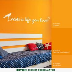 A life you love to live is of your own making, the same way that a home you love to live in is of your own creation. Matching Paint Colors, Wall Quotes, Minimalist Home, Mix Match, Decorating Tips, House Design, Orange, Living Room, Bedroom