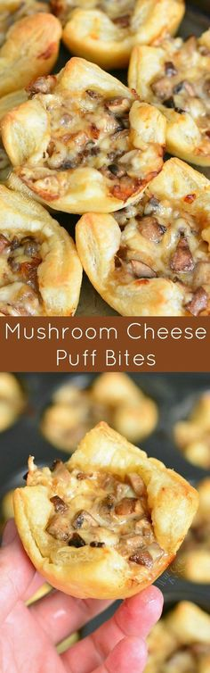 Buttery cheesy tasty little cups of mushroom filled pastry. These snack bites are made with flaky puff pastry and cheesy mushroom mixture. Only 5 ingredients and 30 minutes of your time to get these heavenly mushroom cheese bites. Finger Food Appetizers, Yummy Appetizers, Appetizers For Party, Appetizer Recipes, Cheese Appetizers, Fingers Food, Vegetarian Recipes, Cooking Recipes, Vegetarian Sandwiches