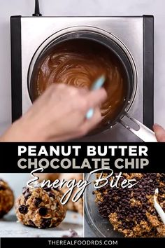 Peanut butter & chocolate come together with oats, flax & chia seeds to make the best Peanut Butter Chocolate Chip Energy Bites! Perfect for meal prepping. Gluten Free Peanut Butter, Best Peanut Butter, Chocolate Peanut Butter, Chocolate Recipes, Peanut Butter Energy Bites, Nutella Recipes, Chocolate Chocolate, Vegan Breakfast Recipes, Snack Recipes