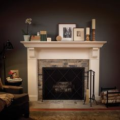 Enchanting Fireplace Mantel Designs Image With Small Living Room Designs And Brick Fireplace Makeover Also Wall Candle Holders Modern Modern Fireplace Mantels, White Fireplace, Farmhouse Fireplace, Fireplace Surrounds, Fireplace Design, Fireplace Mantle, Fireplace Ideas, White Mantle, Fireplace Stone