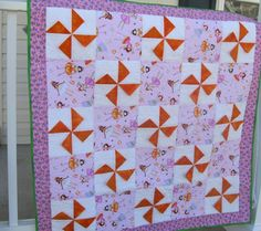 Pink and Orange Princess Pinwheel Baby Quilt by LailapCreations, $110.00