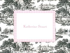 Boatman Geller Foldover Note Card- Toile with Pink ($62 for 25)