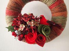 Red Cardinal Wreath - Yarn Wreath - Christmas Wreath - Felt Rose Hydrangea Pinecone Berries - Door Wreath - Festive Holiday Decor