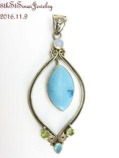 "Large Estate Sterling Silver 925 Dyed Turquoise & Gemstones Pendant 3-1/2""L #Unbranded #Pendant"
