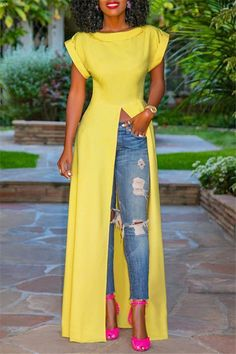 Fashion Round Neck Short Sleeve High Slit Zipper Solid Color Sexy Blou – Ininruby Look Fashion, Skirt Fashion, Autumn Fashion, Fashion Dresses, Blouse Styles, Blouse Designs, Blouse Sexy, Formal Wear Women, Spring Skirts