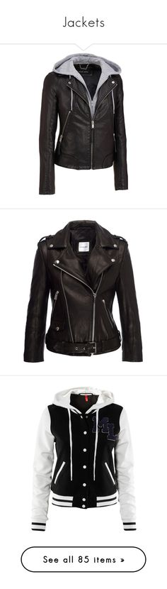 """""""Jackets"""" by chibi-space-gal ❤ liked on Polyvore featuring outerwear, jackets, leather jackets, tops, slim fit jackets, plus size faux leather jacket, vegan leather jacket, faux leather jacket, collar jacket and black"""