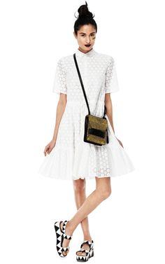 White Cotton Dress by MSGM Now Available on Moda Operandi