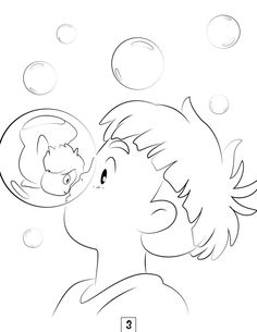 Ponyo coloring pages kittens anime colouring pinterest for Ponyo coloring pages to print