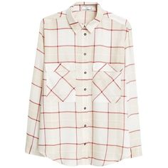Mango Checked Shirt, Dark Red (52,395 KRW) ❤ liked on Polyvore featuring long sleeve tops, loose long sleeve shirts, loose tops, extra long sleeve shirts and checkered shirt