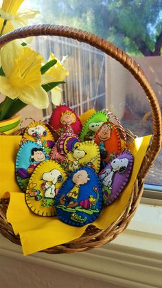 Peanuts Felt and Fabric Easter Eggs-Basket by DebsArtsyEnchantment