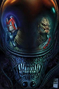 """redskullsmadhouse: """"Alien, Judge Dredd, Predator by Glen Fabry """""""